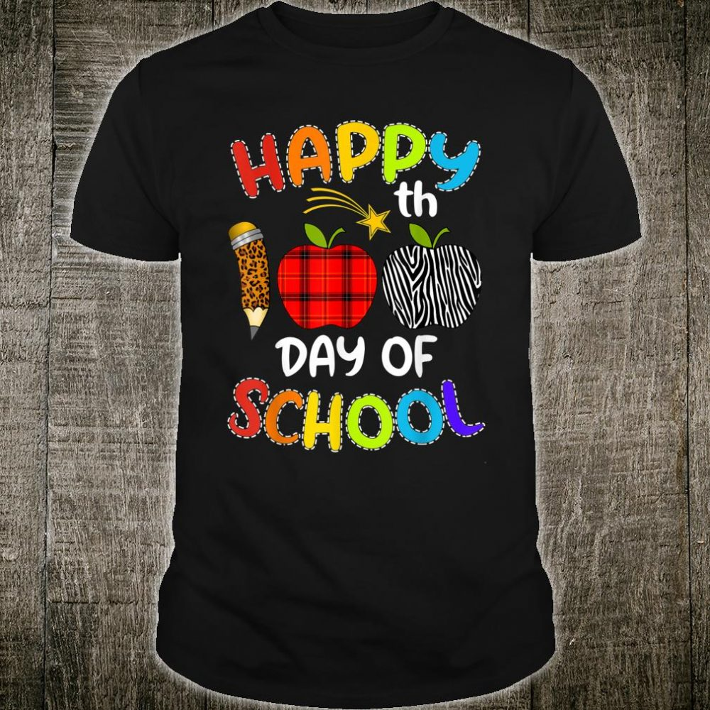 Happy 100th Day of School Teacher leopard plaid zebra Shirt