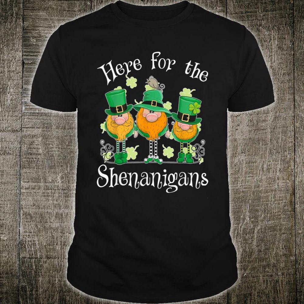 Here for The Shenanigans Gnome Shamrock Shirt