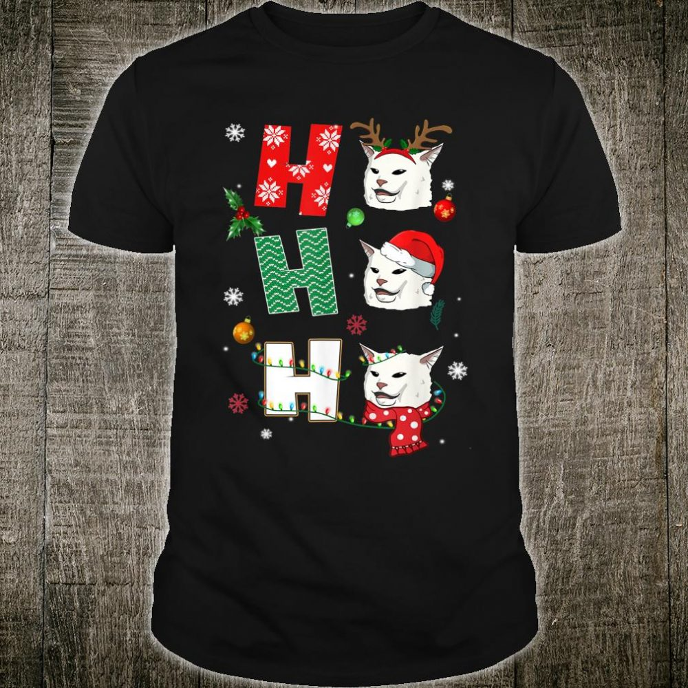 Ho Ho Ho Smudge Cat Santa Reindeer Xmas Shirt