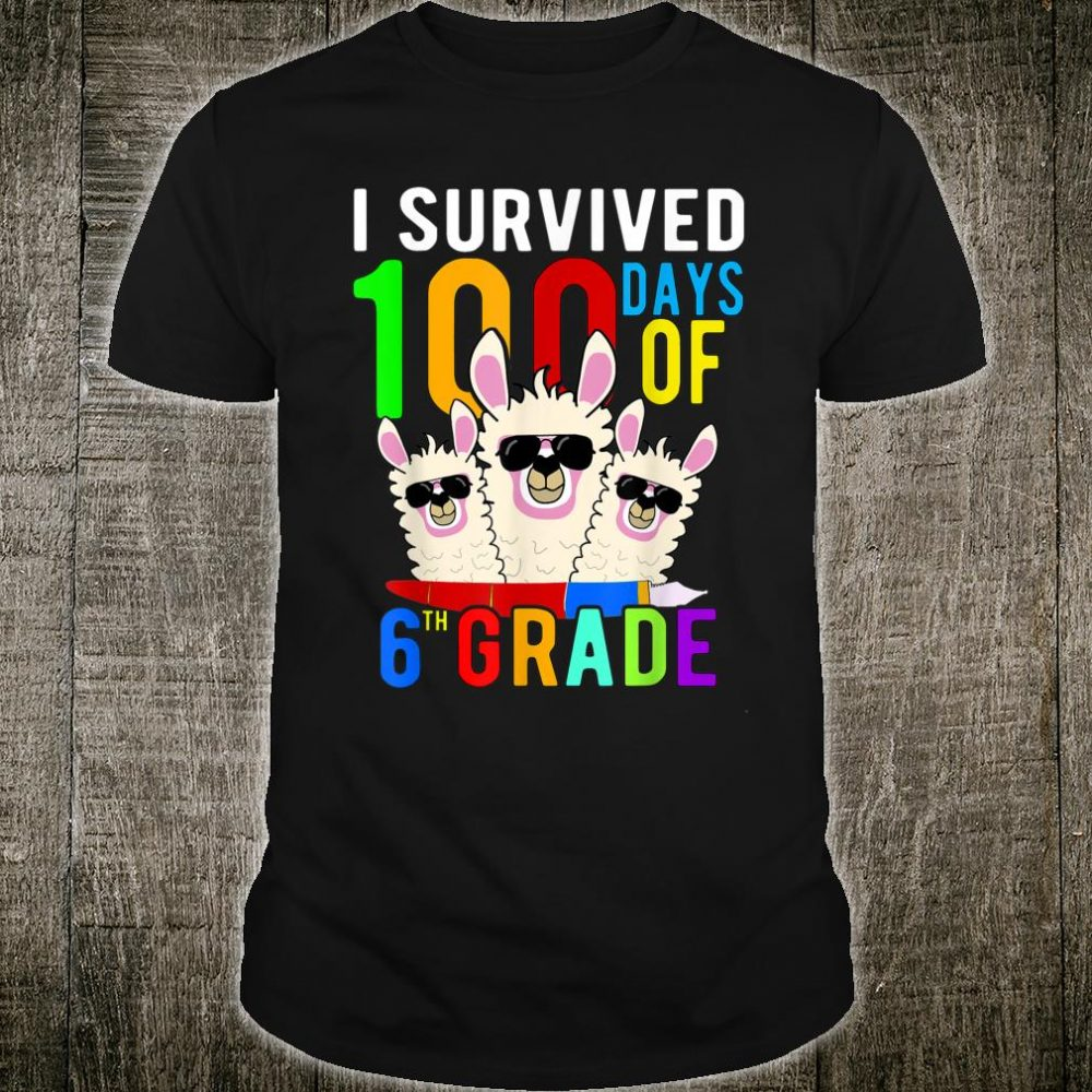 I Survived 100 Days Of 6th Grade Llama 100th Day Of School Shirt