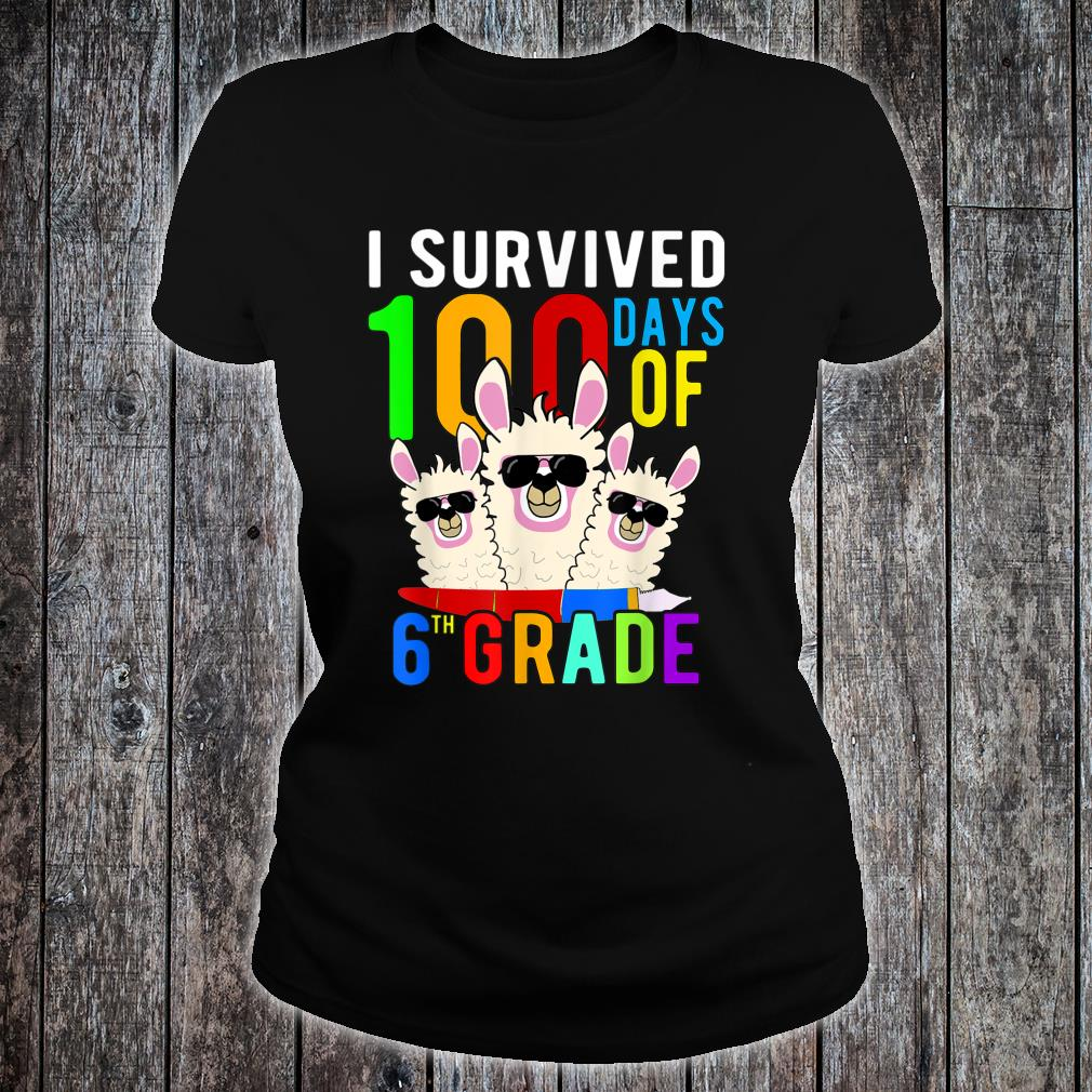 I Survived 100 Days Of 6th Grade Llama 100th Day Of School Shirt ladies tee