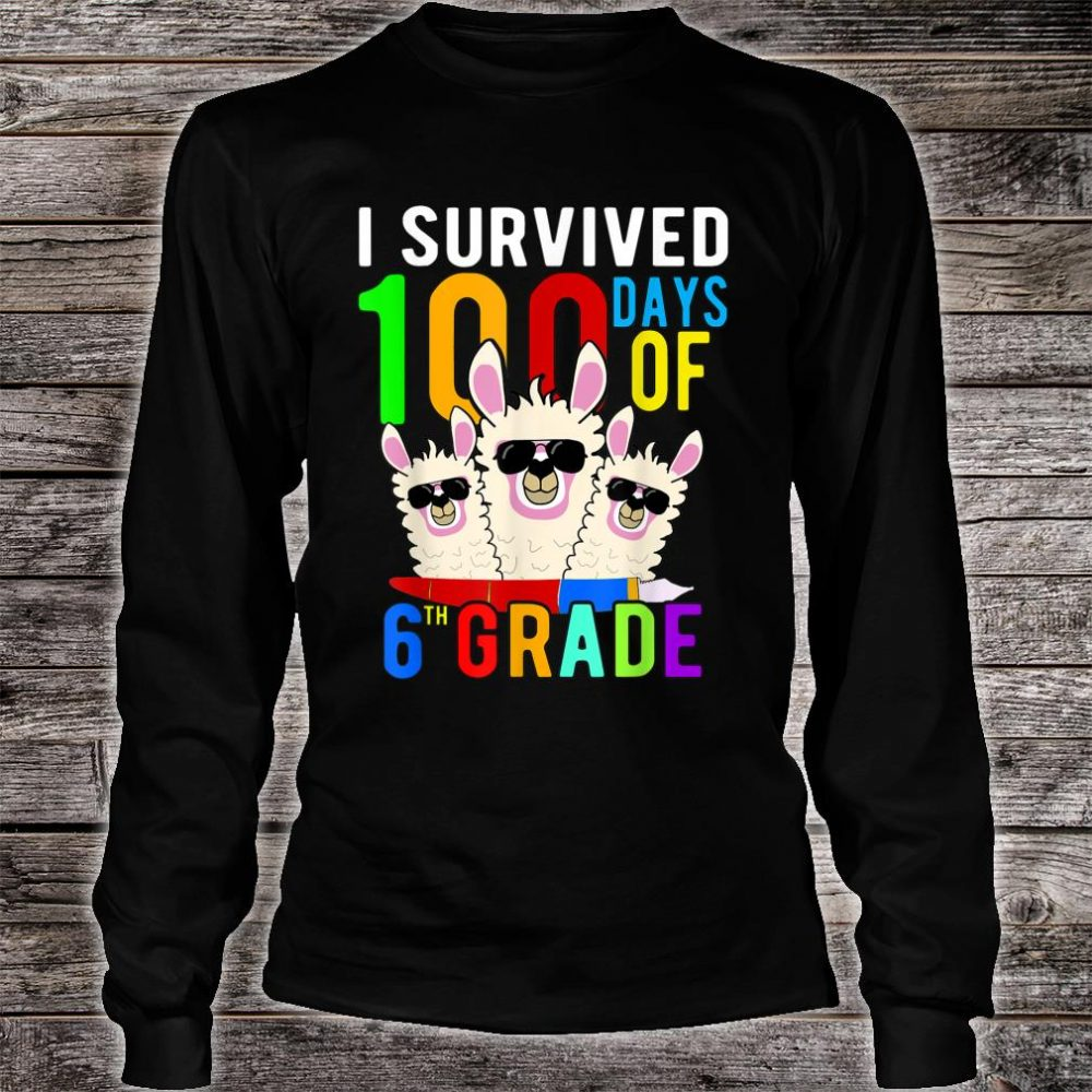 I Survived 100 Days Of 6th Grade Llama 100th Day Of School Shirt long sleeved