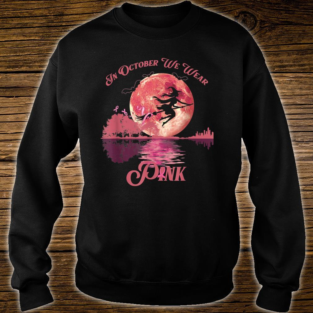 In October We Wear Pink Witch Halloween Breast Cancer Shirt sweater