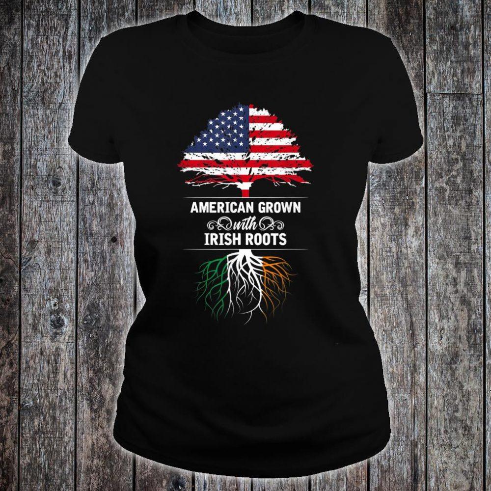 Ireland American Grown USA Flag Irish Roots Shirt ladies tee