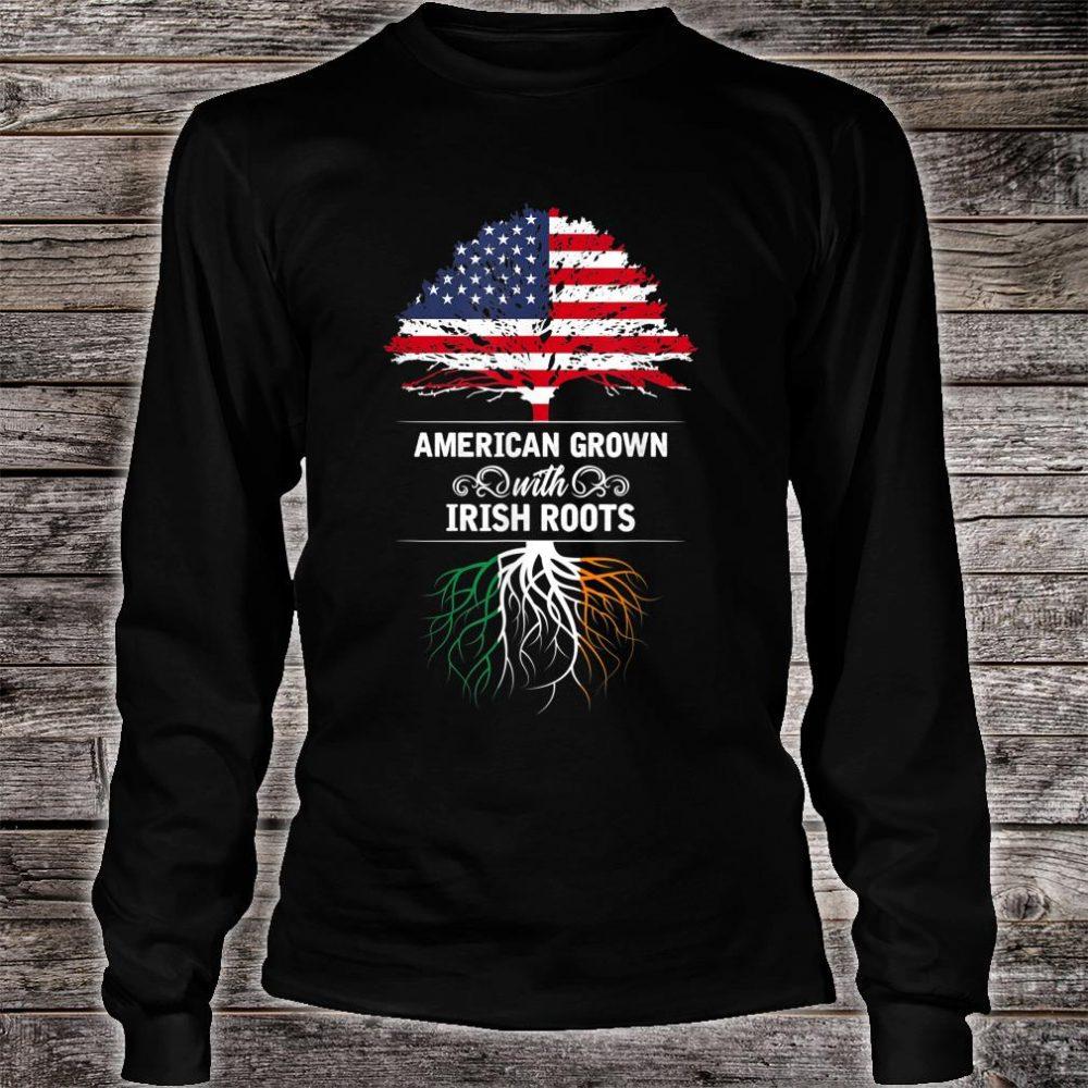 Ireland American Grown USA Flag Irish Roots Shirt long sleeved