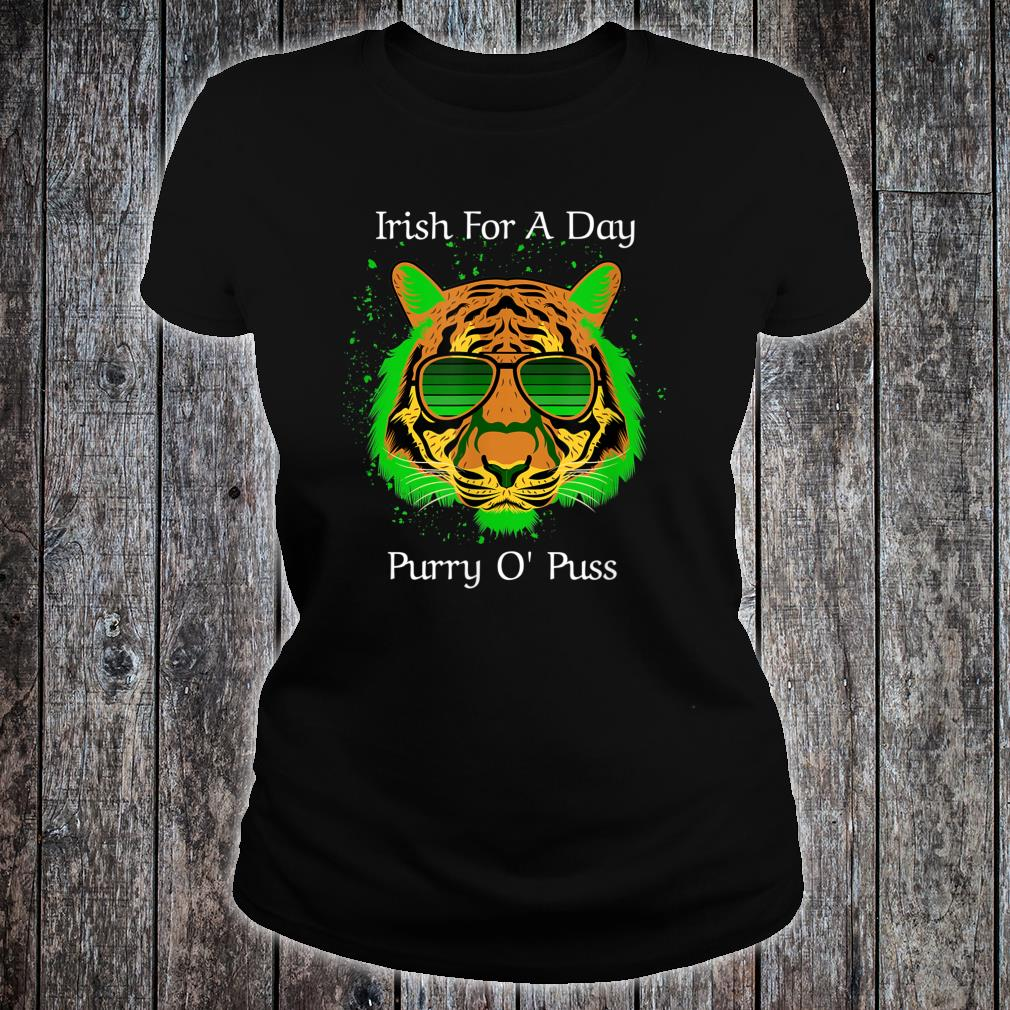 Irish For A Day Purry O'Puss Lucky Tiger with Shades Shirt ladies tee