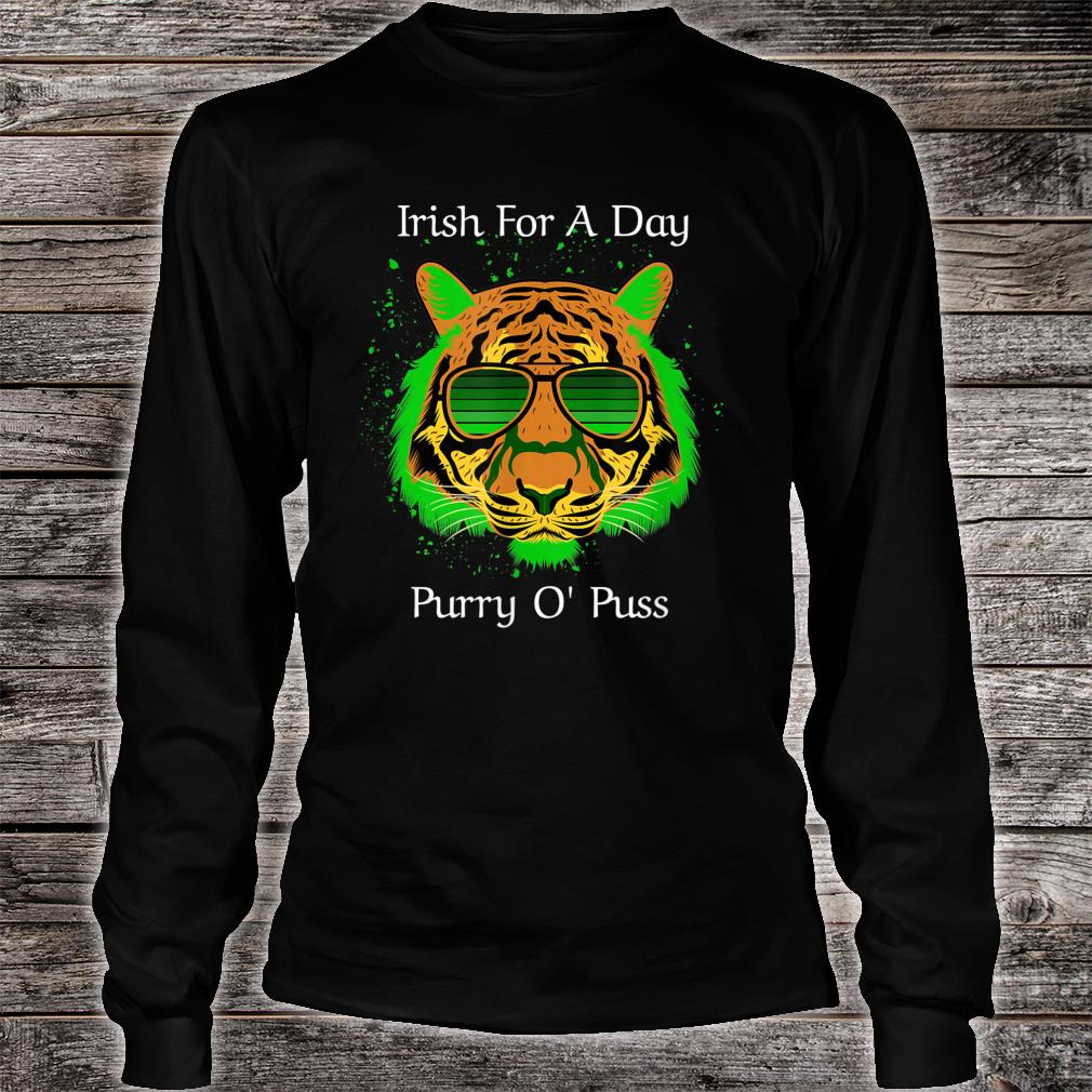 Irish For A Day Purry O'Puss Lucky Tiger with Shades Shirt long sleeved