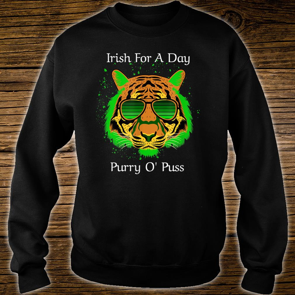 Irish For A Day Purry O'Puss Lucky Tiger with Shades Shirt sweater