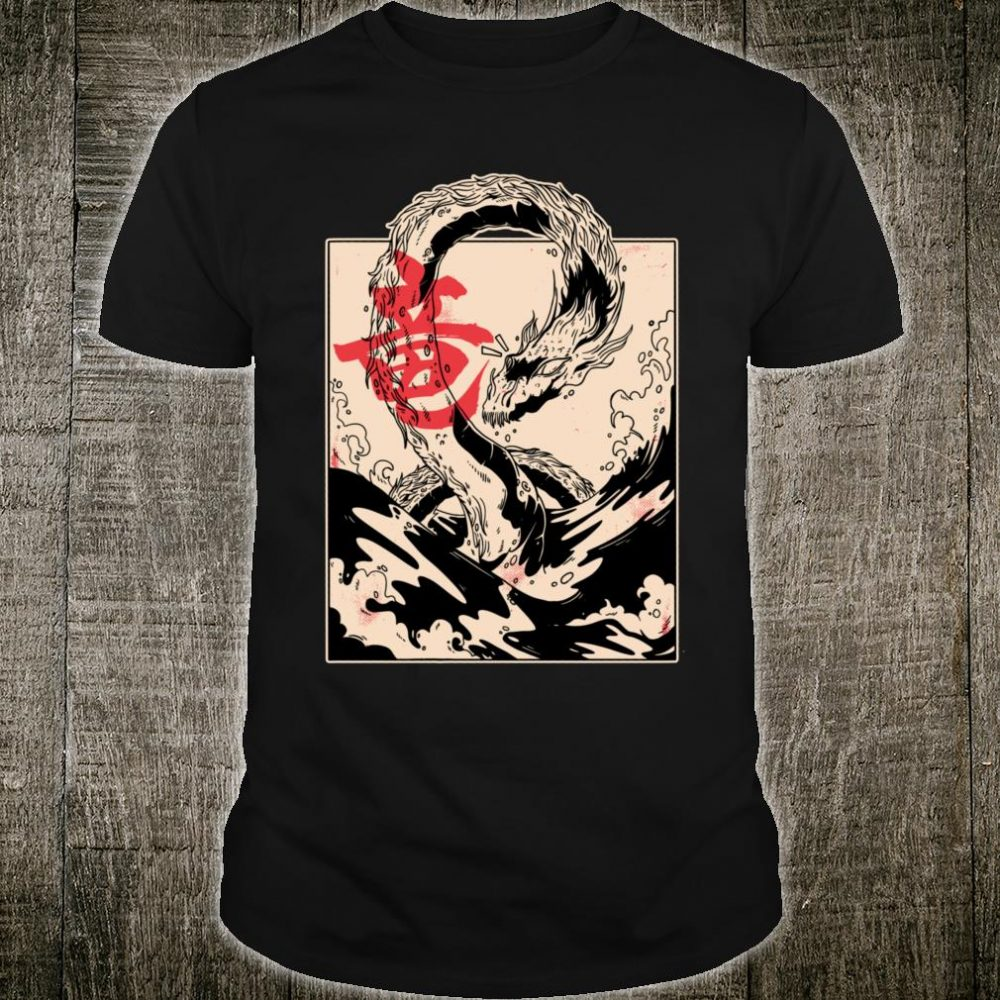 Japanese Aesthetic Art Sea Dragon Retro Oriental Clothing Shirt