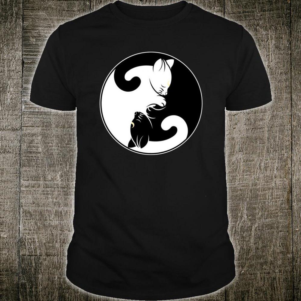 Kawaii Yin Yang Black Cat With Moon Crescent Head Manga Neko Shirt