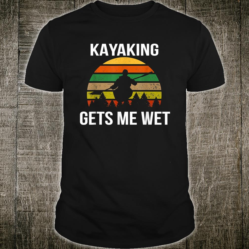 Kayaking Gets Me Wet Vintage Kayaker Canoeing Christmas Shirt