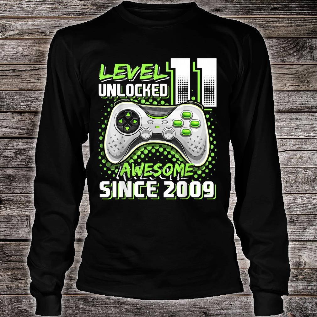 Level 11 Unlocked Awesome 2009 Video Game 11th Birthday Shirt long sleeved
