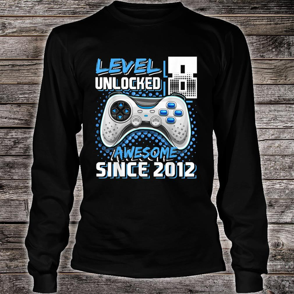 Level 8 Unlocked Awesome Since 2012 Video Game 8th Birthday Shirt long sleeved