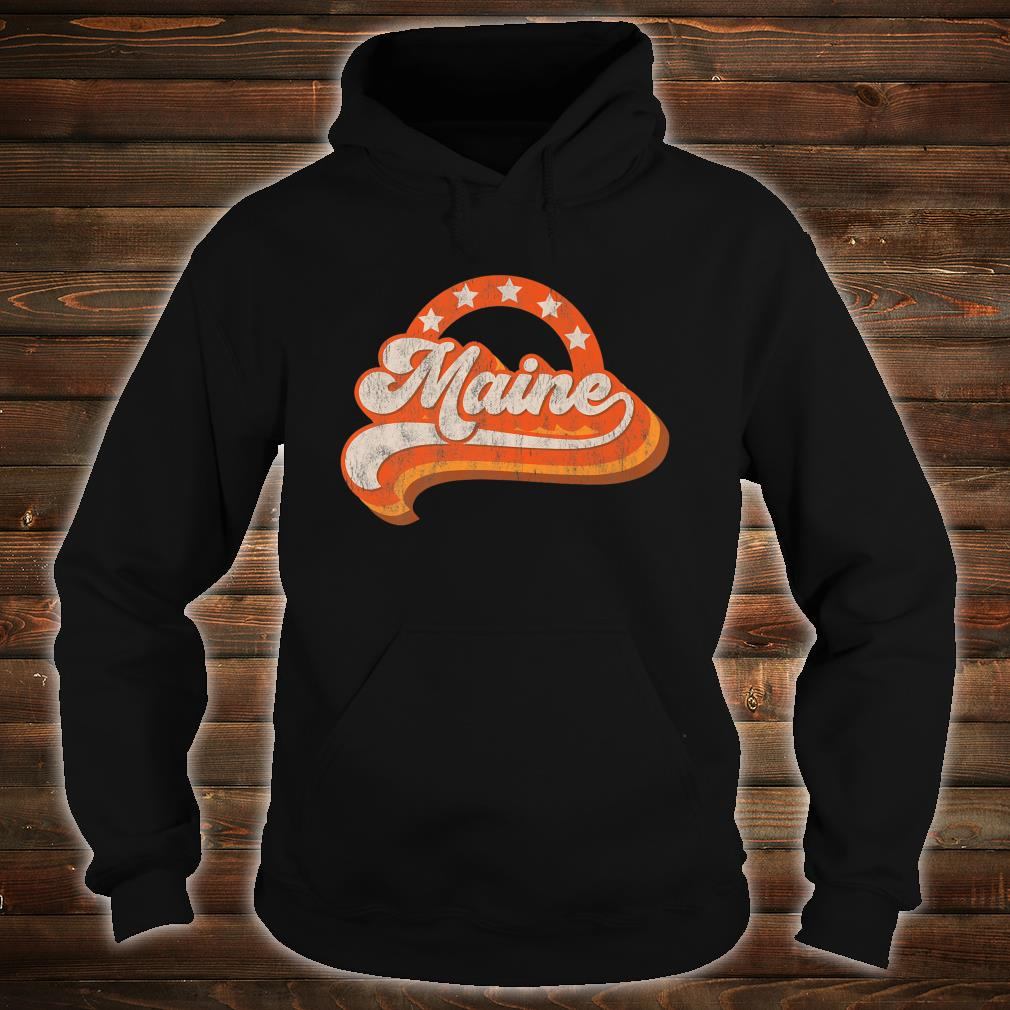 Maine Retro Distressed 70s Style Stars Home State Shirt hoodie