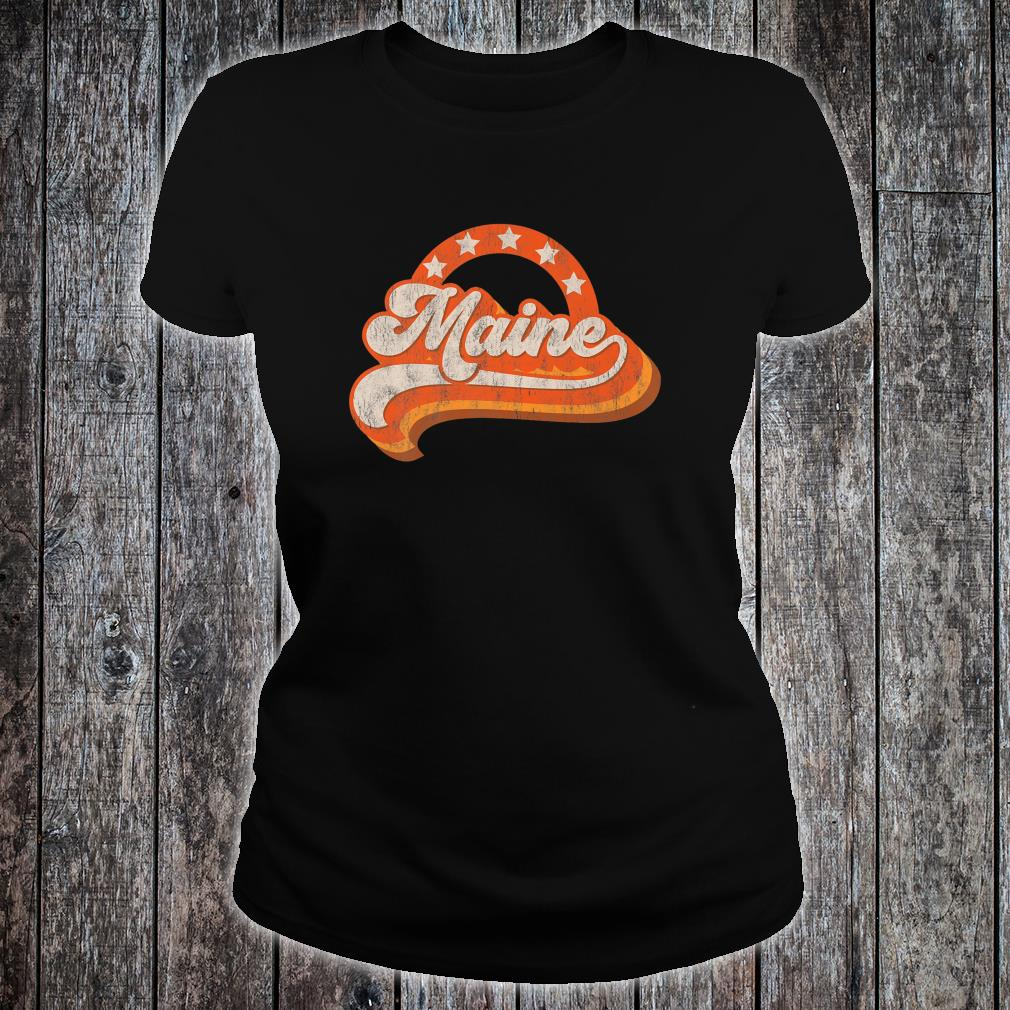 Maine Retro Distressed 70s Style Stars Home State Shirt ladies tee
