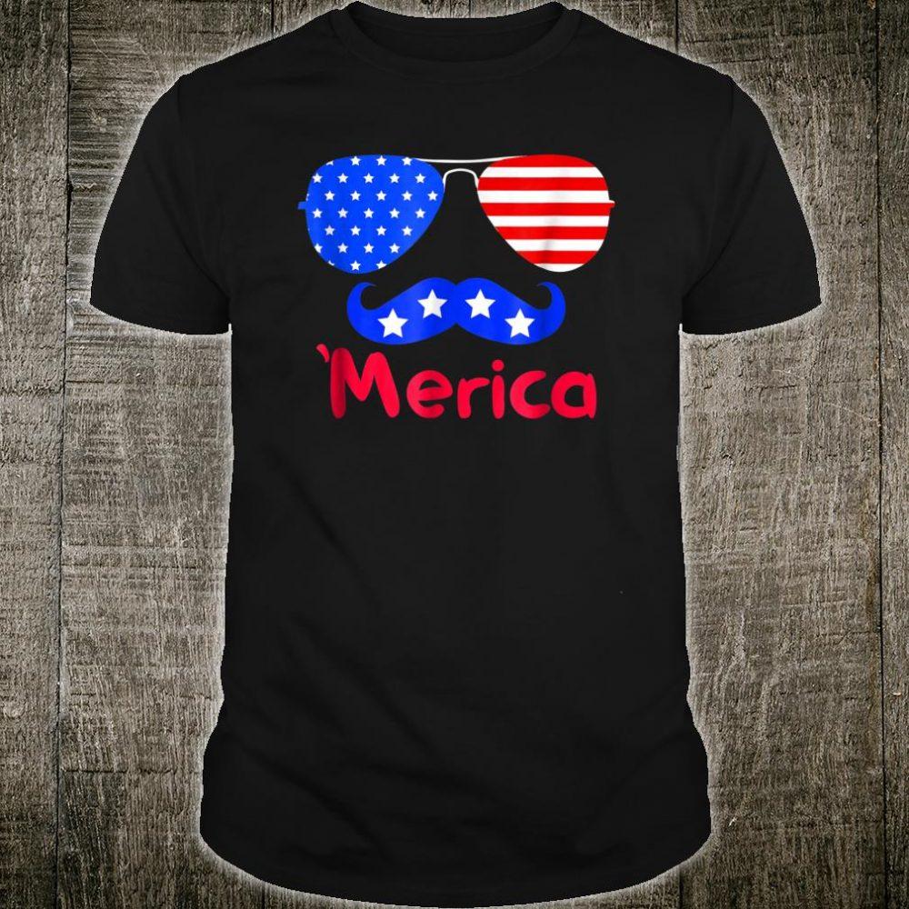 'Merica Glasses Mustache American Flag shirt