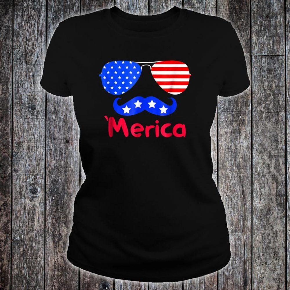 'Merica Glasses Mustache American Flag shirt ladies tee