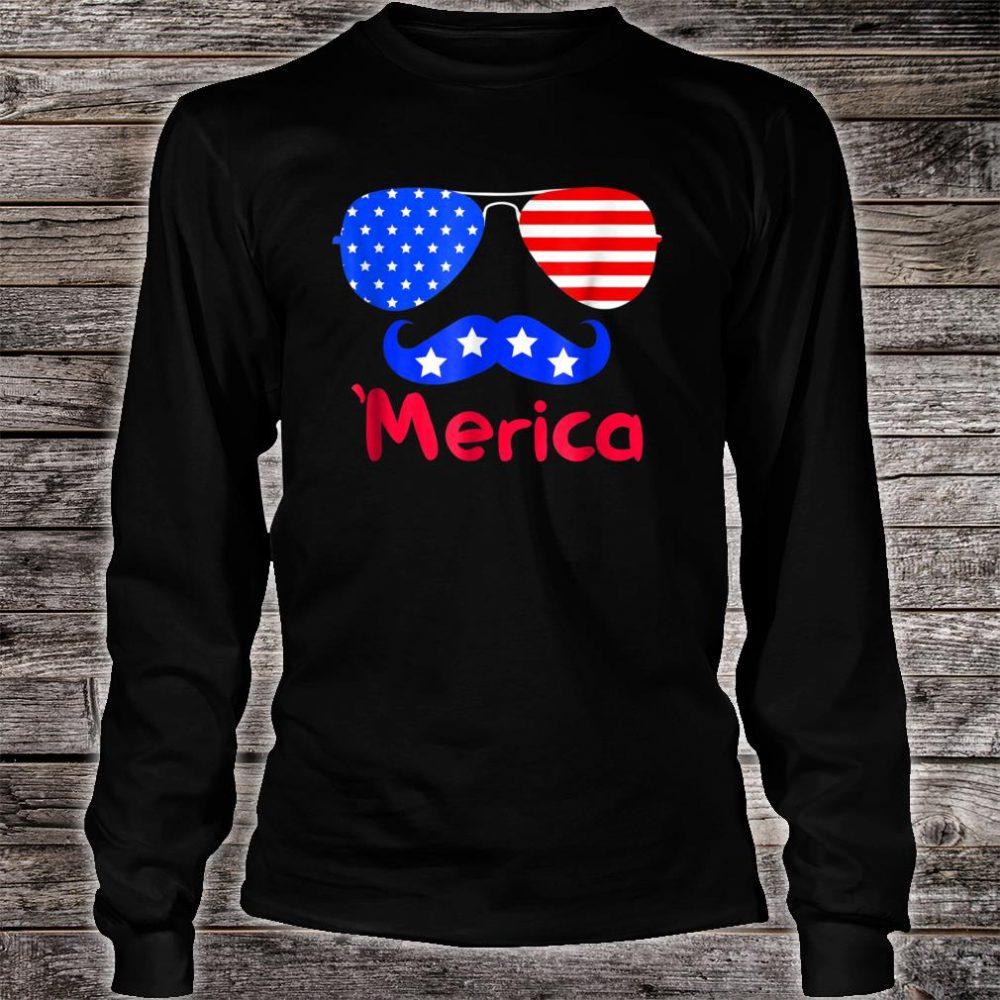 'Merica Glasses Mustache American Flag shirt long sleeved