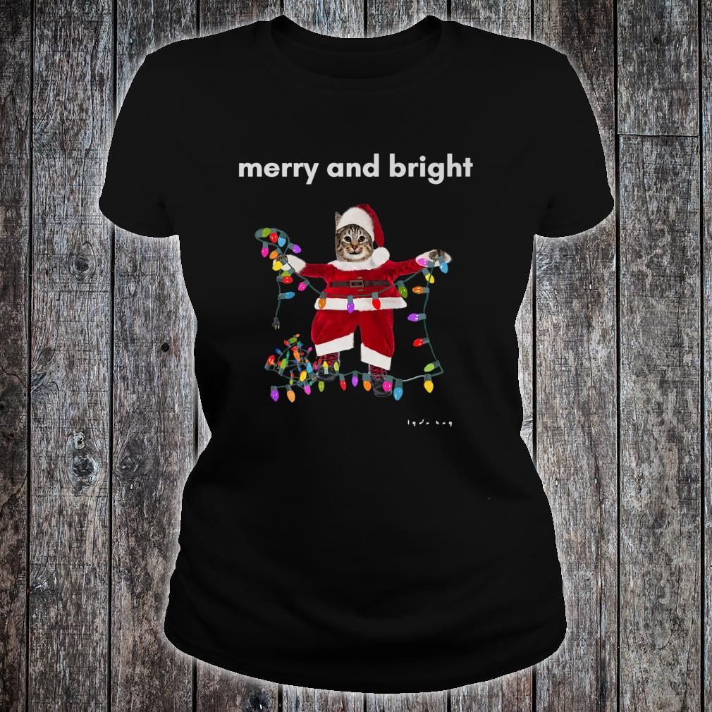 Merry Christmas Cat With Colorful Lights Shirt ladies tee