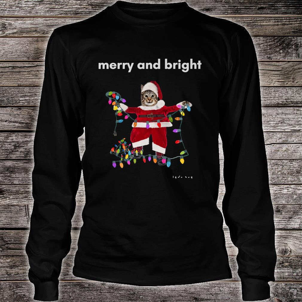 Merry Christmas Cat With Colorful Lights Shirt long sleeved