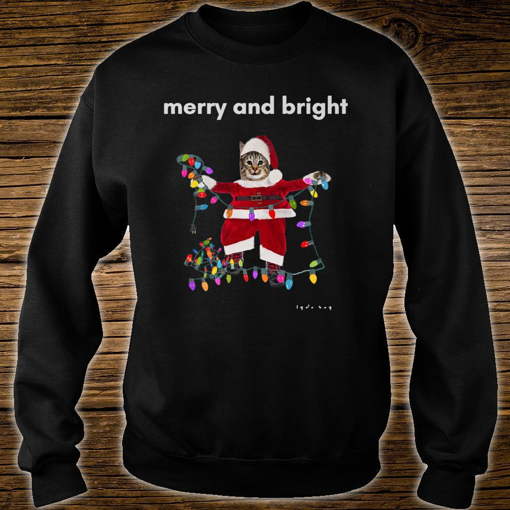 Merry Christmas Cat With Colorful Lights Shirt sweater