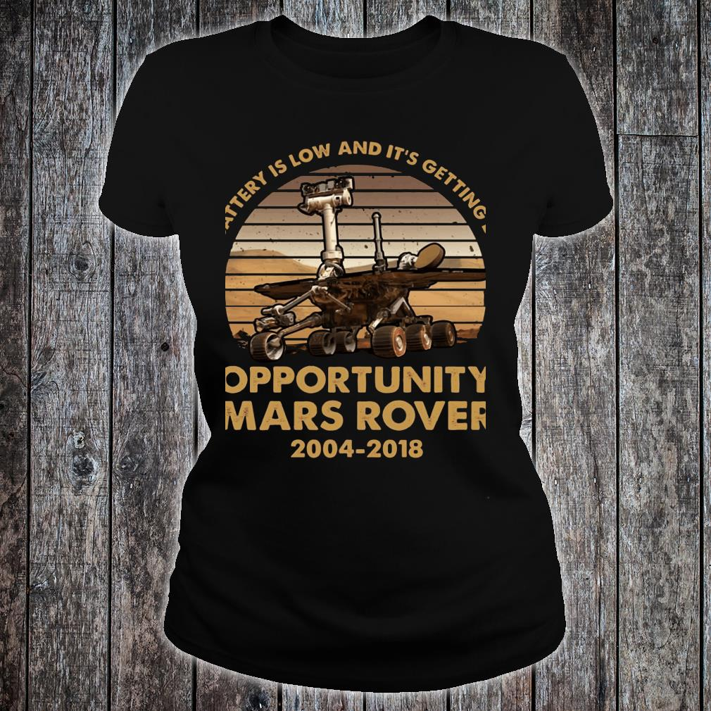 My battery is low and it's getting dark opportunity Mars Rover shirt ladies tee