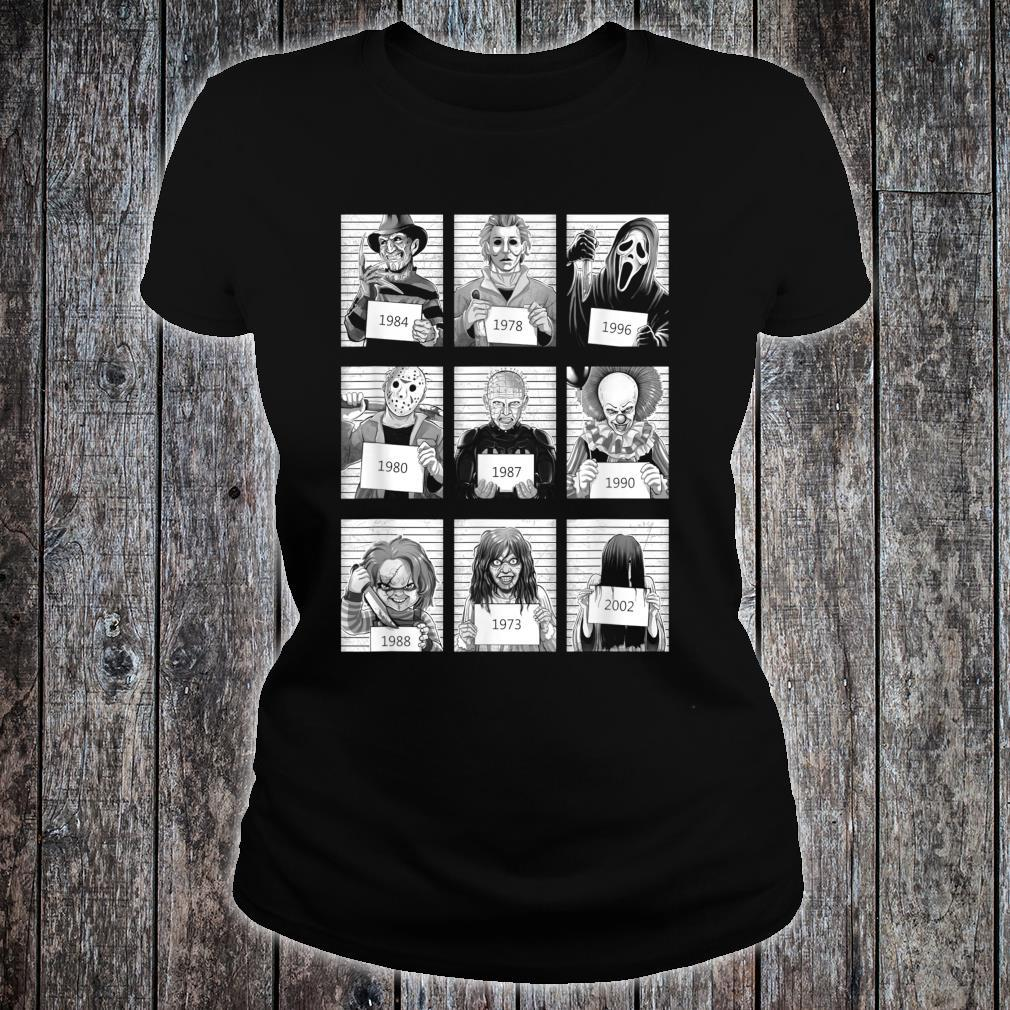 Scary Halloween Horror Characters Mug Shot Costume Shirt ladies tee