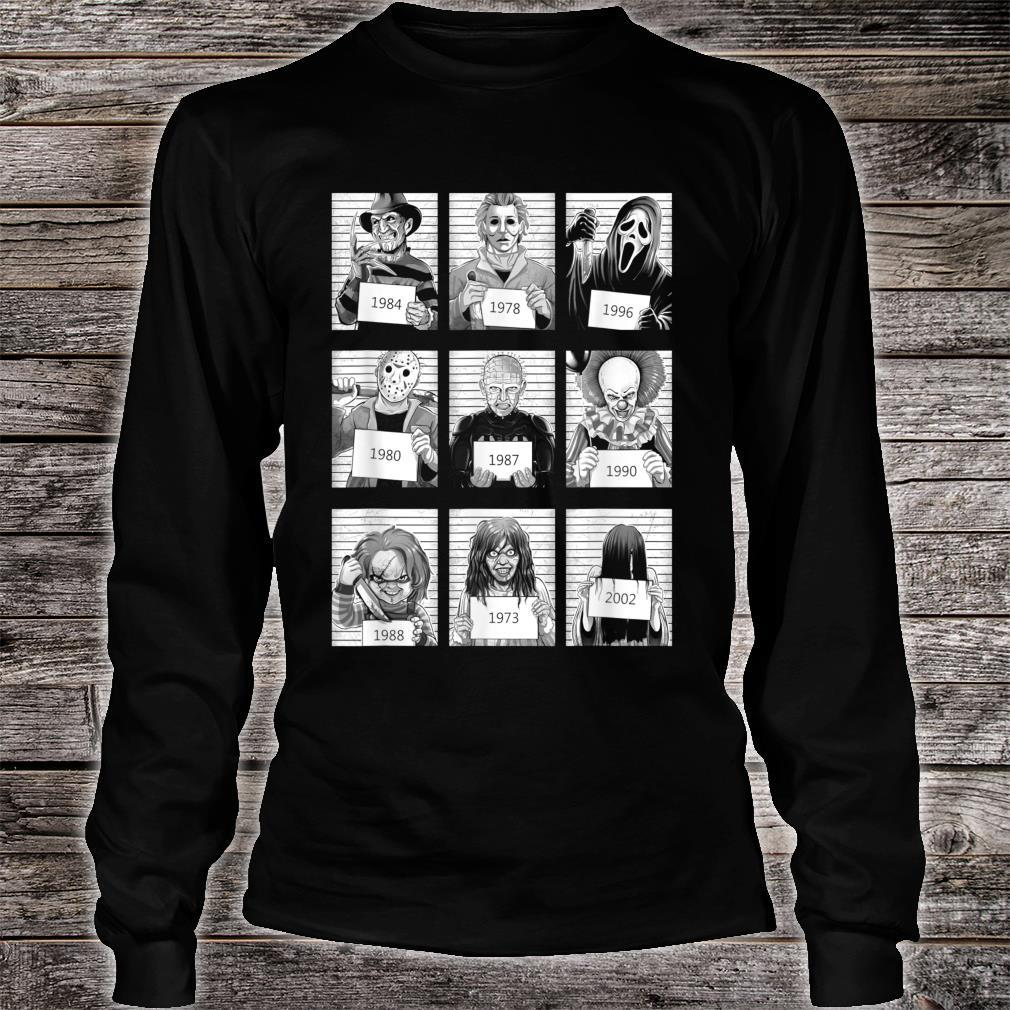 Scary Halloween Horror Characters Mug Shot Costume Shirt long sleeved