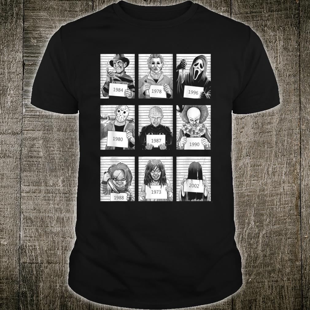 Scary Halloween Horror Characters Mug Shot Costume Shirt