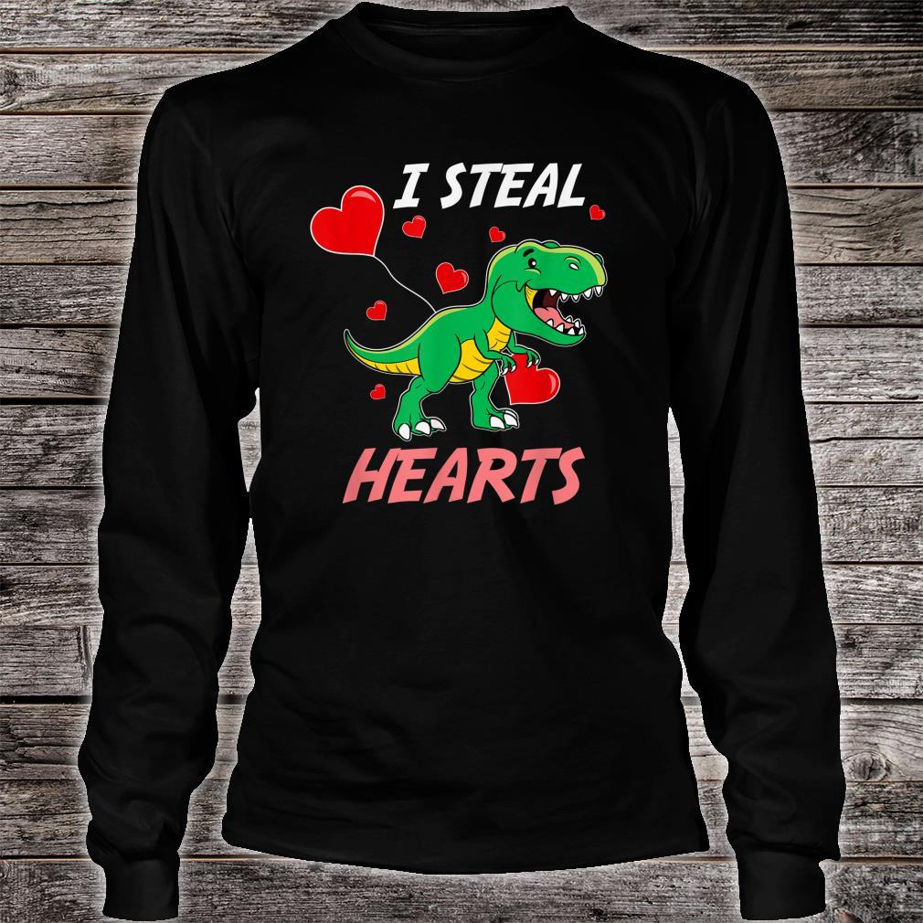 TRex I Steal Hearts Valentine's Day Shirt long sleeved
