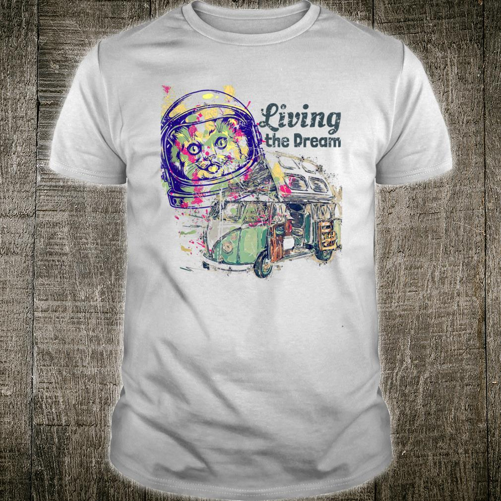 Trippy Space Cat Van Life Living the Dream Colorful Hippie Shirt