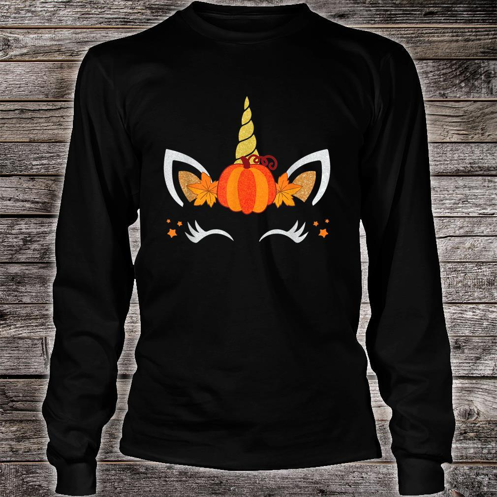 Unicorn Face Pumpkin Autumn Leaf Fall Thanksgiving Shirt long sleeved