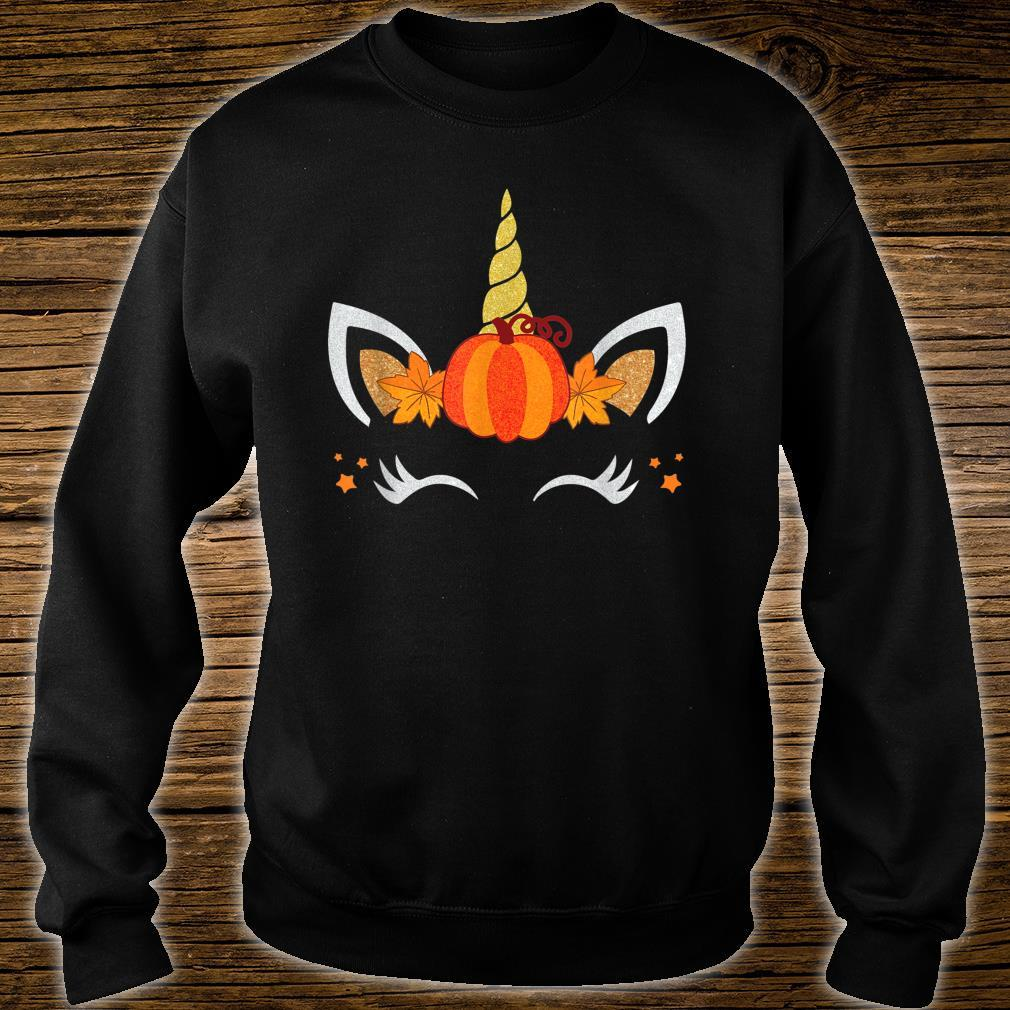 Unicorn Face Pumpkin Autumn Leaf Fall Thanksgiving Shirt sweater