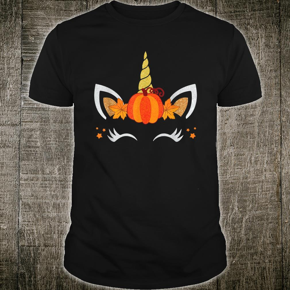 Unicorn Face Pumpkin Autumn Leaf Fall Thanksgiving Shirt