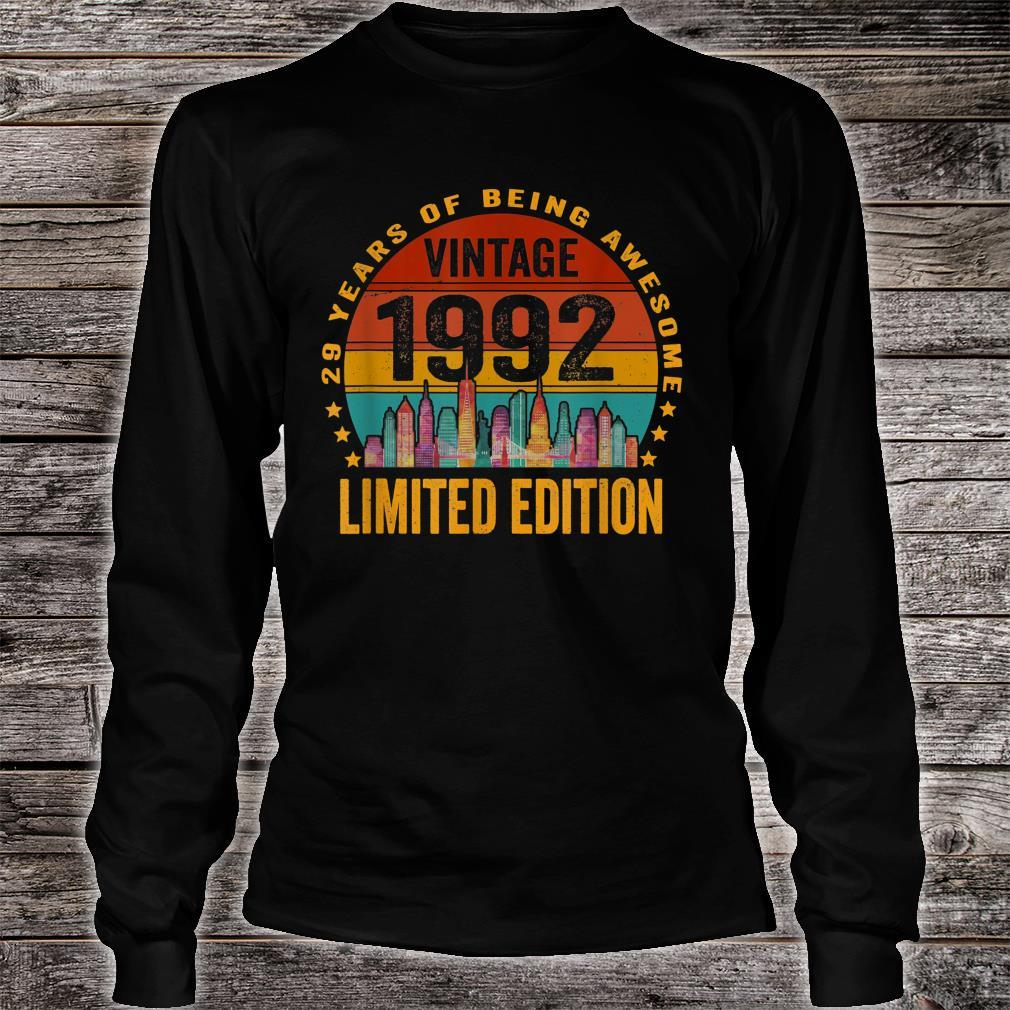 Vintage 1992 29 Years Old Retro 29th Birthday Shirt long sleeved