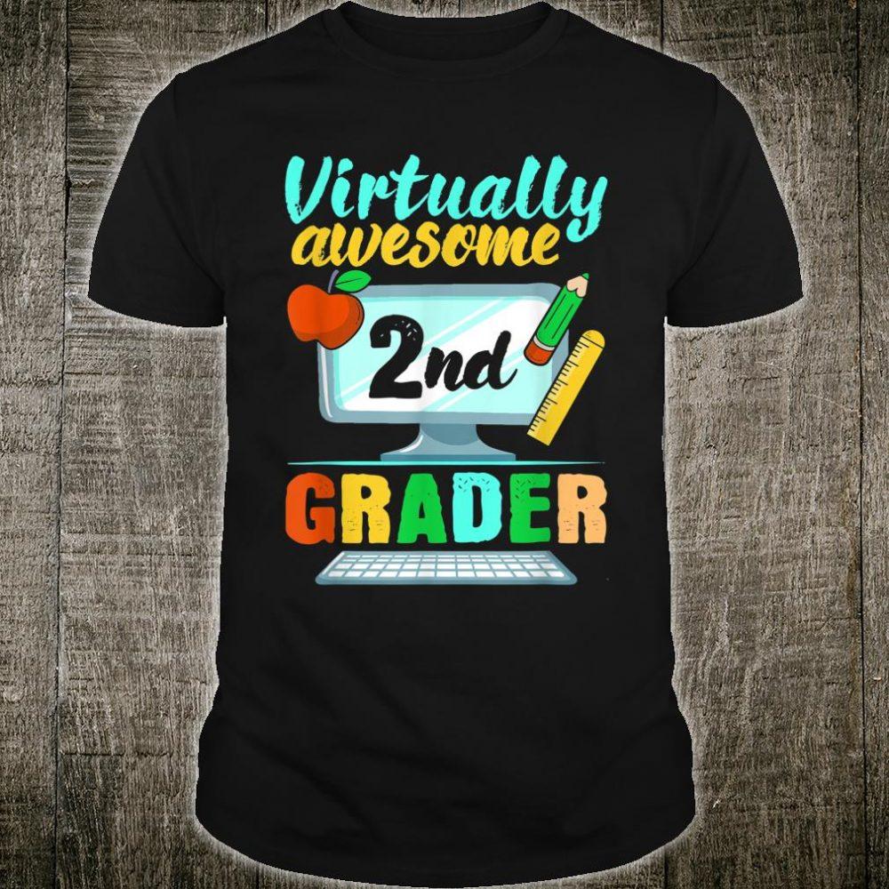Virtually Awesome 2nd Grader Virtual Learning Homeschool Shirt